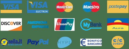 Pagamenti sicuri con Banca Sella, PayPal, Hype, carte di credito, C/C postale o bonifico